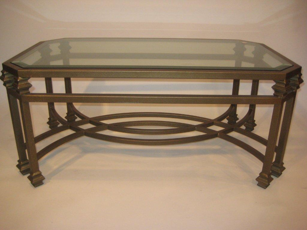 Double leg coffee table wrought iron custom furnishings for Glass top coffee table with wrought iron legs