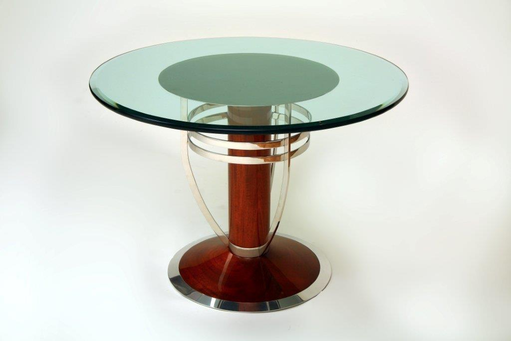 Polished Stainless Mahogany Table