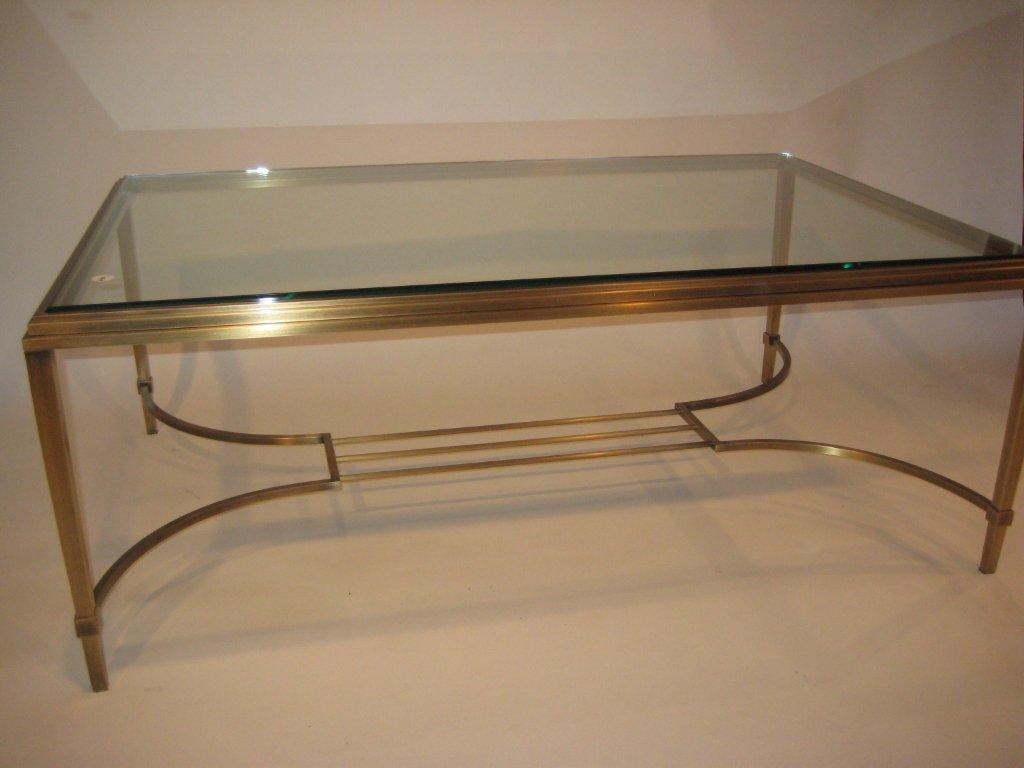 Brass Lyre Coffee Table Antique Finish