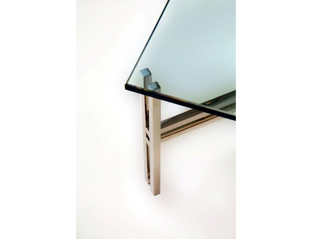 Double Leg Polished Stainless Coffee Dining Console Table Detail
