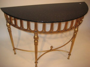 Louis XVI Demi Lune Steel Marble Console
