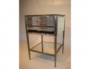 Mirrored Night Stand Steel