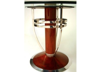 Polished_Stainless_With_Mahogany Table Detail