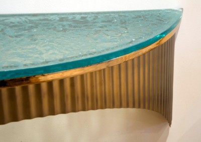 Satin_Stainless_Console_with_Cracked_Ice_Glass Detail