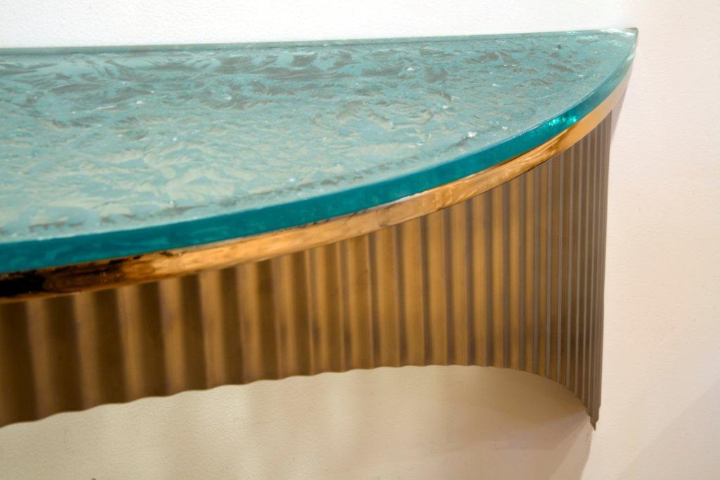 Satin Stainless Console with Cracked Ice Glass